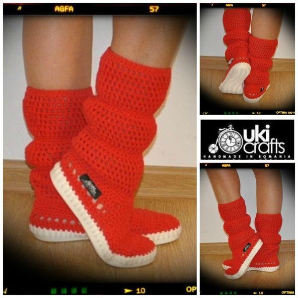 Crochet boots summer -cotton 65%-RED from Uki-Crafts by DaWanda.com