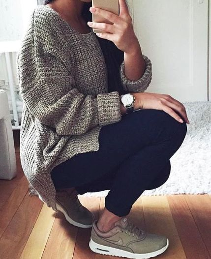 Still look put together when you run errands. Cozy sweater, leggings and some cute kicks!
