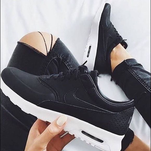 Womens Nike Air Max Thea Prm Brand New With Box But No Lid Premium Black Leather Nike Shoes Athletic Shoes Nike Air Max For Women Nike Air Max Nike Women