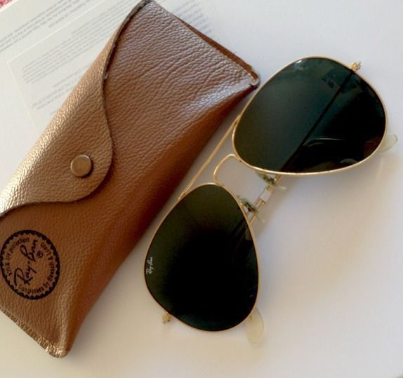ray ban golden glass  lovvve these ray ban rb3025 aviator sunglasses gold frame crystal light green len. only
