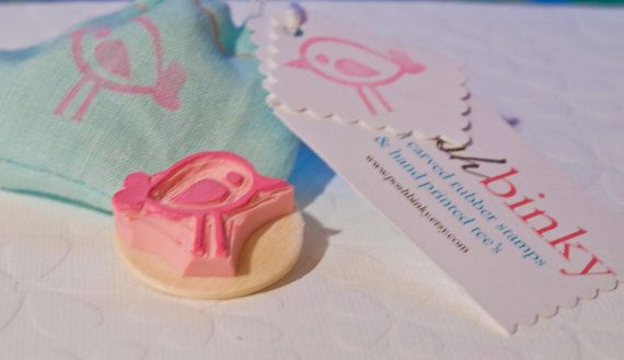 Birdie Rubber Stamp Hand Carved Mounted Rubber Bird by PoshBinky, $5.00