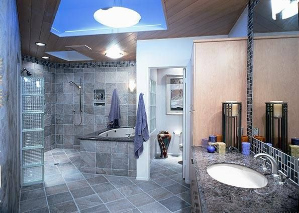 Here's another very big bathroom which actually manages to look quite cosy