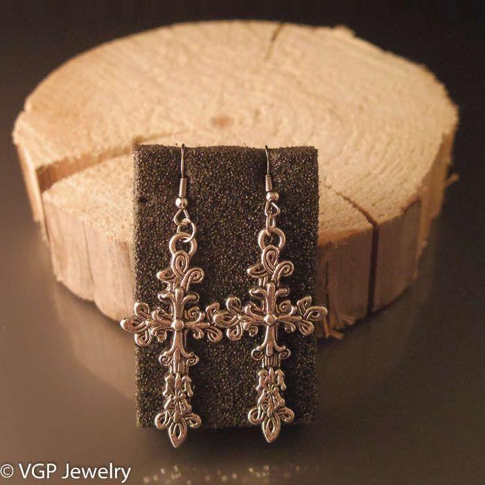Sierlijke Kruis Oorbellen: zilver