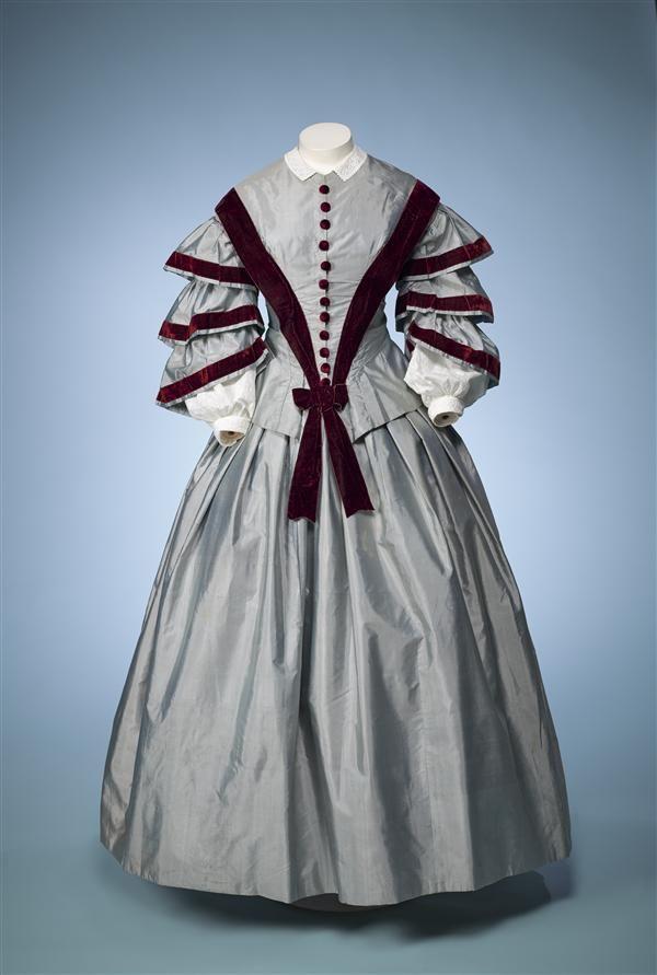 Ephemeral Elegance | Velvet Trimmed Day Dress, ca. 1850-55 via...