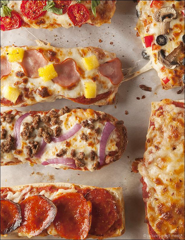 French Bread Pizzas - a quick, easy way to get pizza on the table in no time.