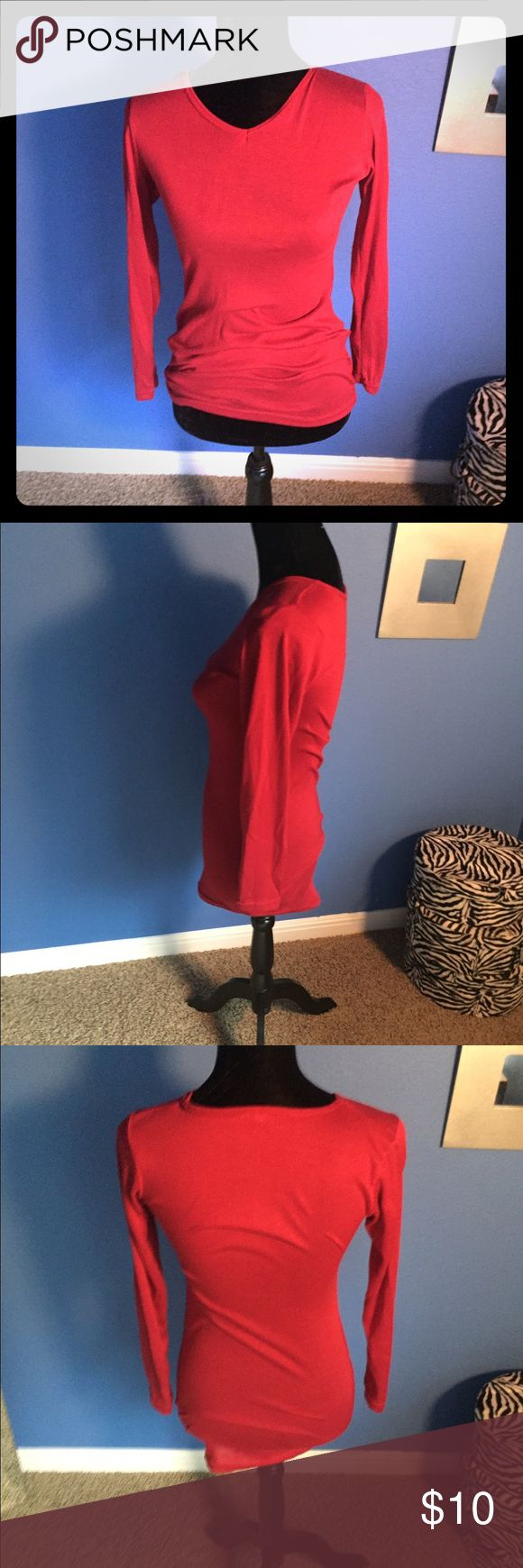 Red long sleeved shirt dress Red long sleeve shirt could be worn as a shirt or a short dress. Thin material, great color. Fits size xs-s Tops Tees - Long Sleeve