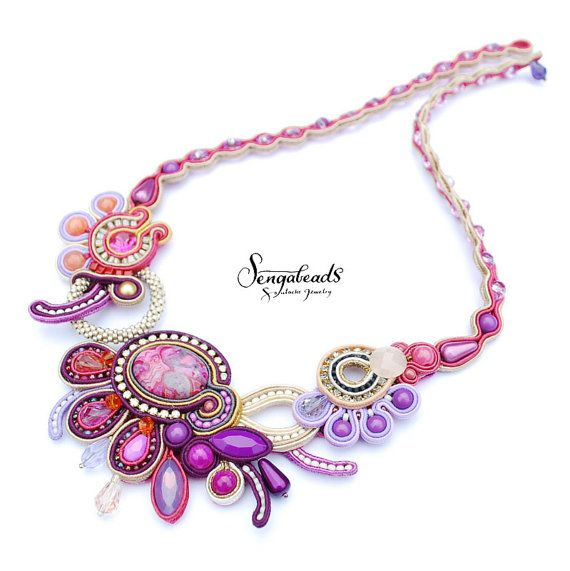High fashion hand embroidered statement necklace by Sengabeads
