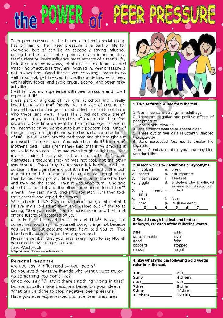 PEER PRESSURE   ESL worksheet by patties