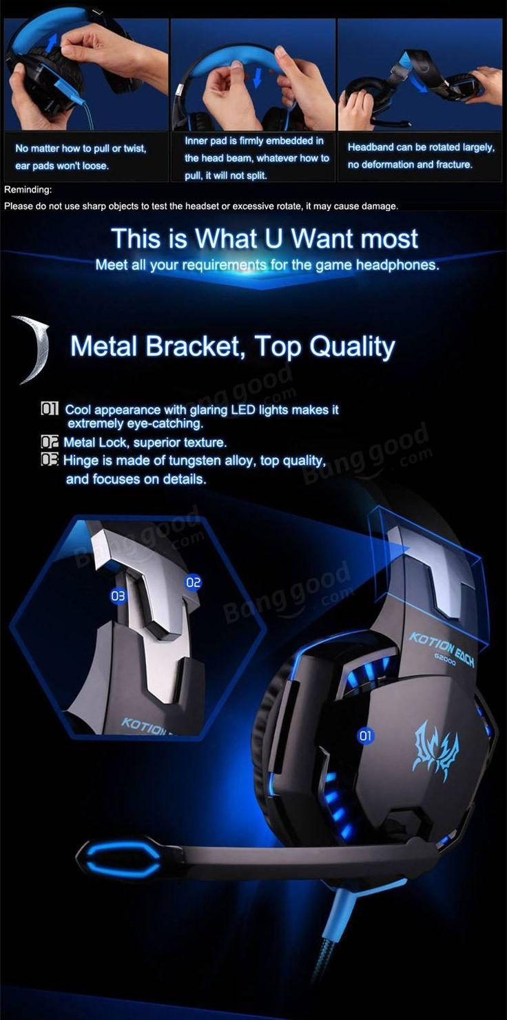 KOTION EACH G2000 Over Ear Stereo Bass Gaming Headphone Headset Earphone Headband with Mic LED For PC Game