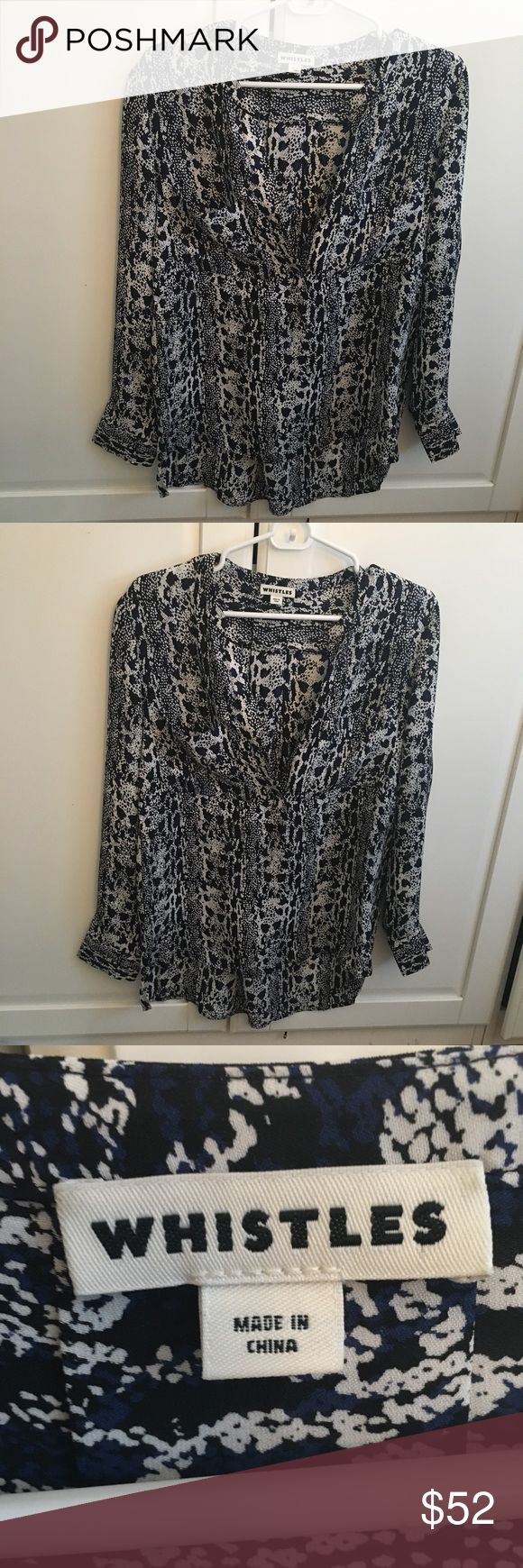 Whistles Blue and White Animal Print Blouse Size 2 Like new! Only worn once! Whistles Tops Blouses