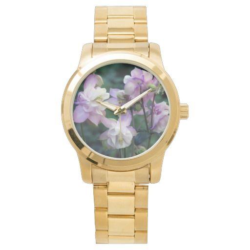 Pink Purple Columbine flowers wrist watch