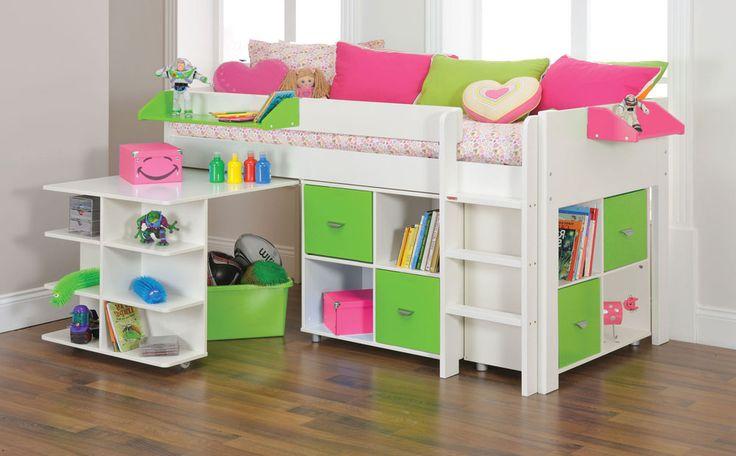Stompa Uno White Midi Sleeper Bed & Large Study Set