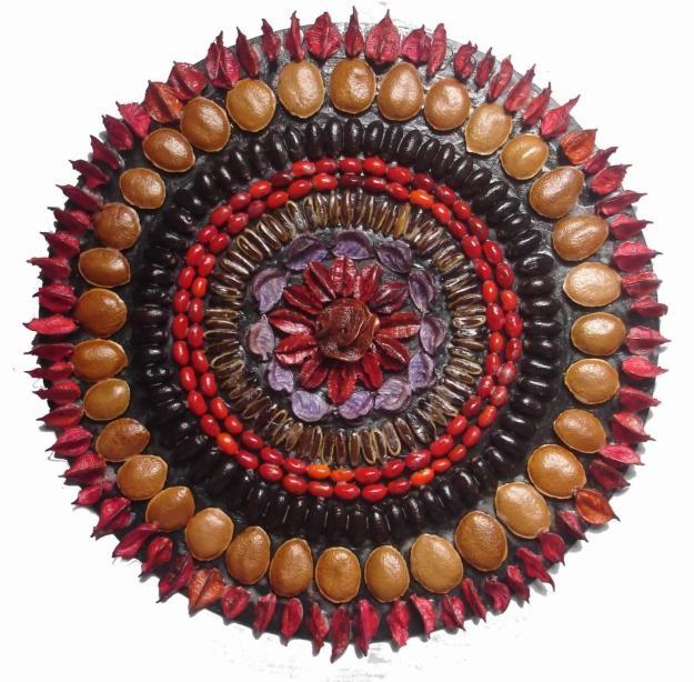 Mandala made of seeds