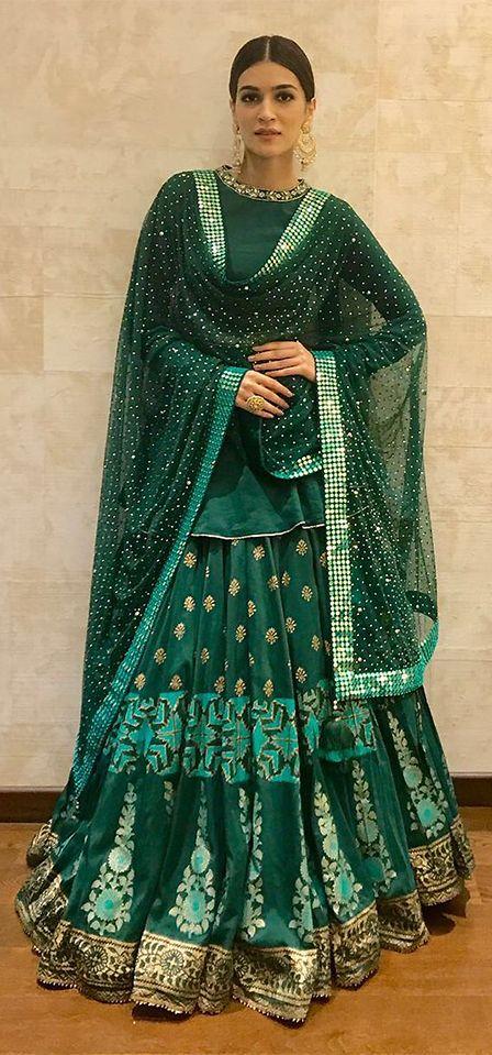 Kriti Sanon looked stunning in a designer peplum lehenga at a cultural event in Mumbai. (Image Source: Pinterest)
