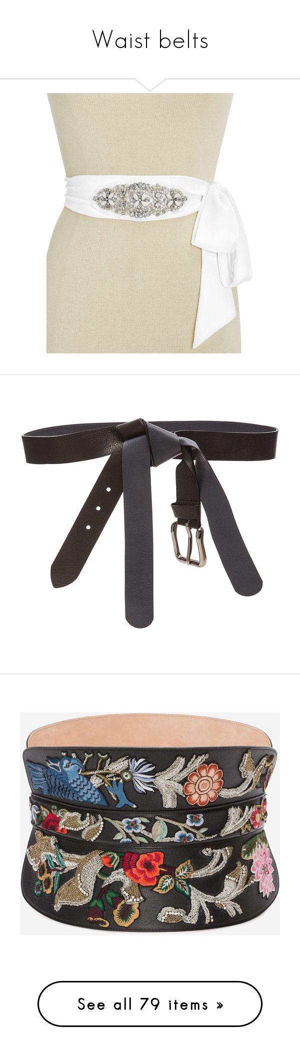 """""""Waist belts"""" by sjpj ❤ liked on Polyvore featuring accessories, belts, white, embellished belt, sparkly belt, inc international concepts, bridal sash belt, white belt, maison margiela belt and knot belt"""
