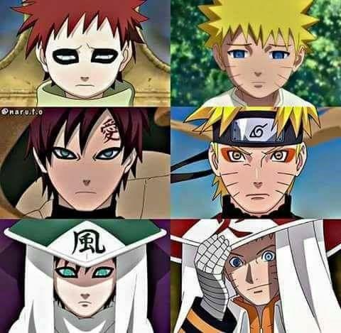 Naruto Uzumaki and Gaara of the Sand - Evolution ♥♥♥ #Hokage #Kazekage #Jinchuuriki