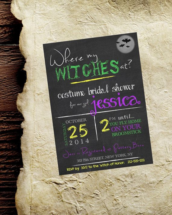 Halloween Party Invitation. Fall Bridal Shower Invite. 5x7 customizable. Where my Witches at? Chalkboard Rustic Wedding.