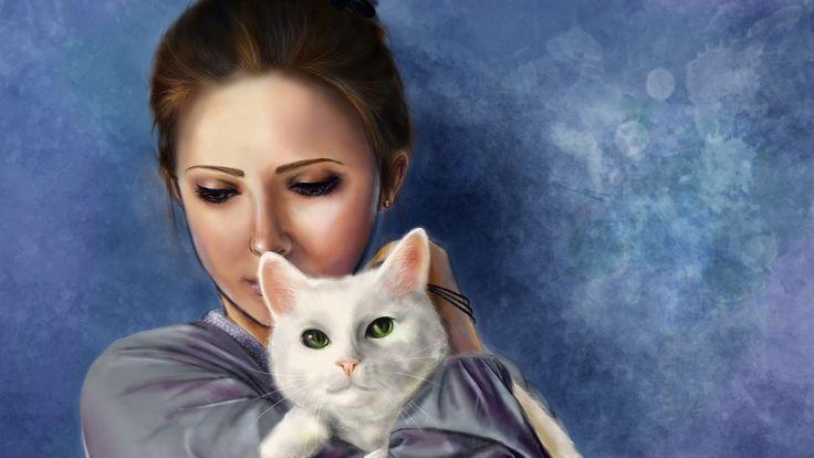 Картинки по запросу девушка с котенком рисунок