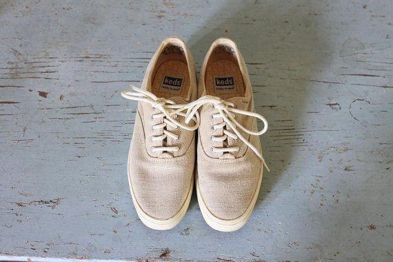 vintage FLAX linen Keds tennis shoes Keds flats by ScottieinaCanoe, $32.00