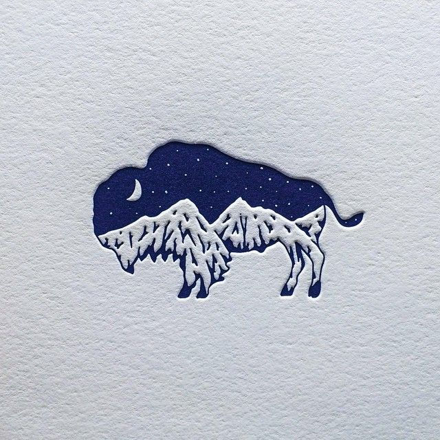My friend Daniel @clovestpress is amazing at letterpress and always fun to work with. Here is what he just did with my bison mountain design. We will be working on some cool stuff next year. #letterpress #bison: