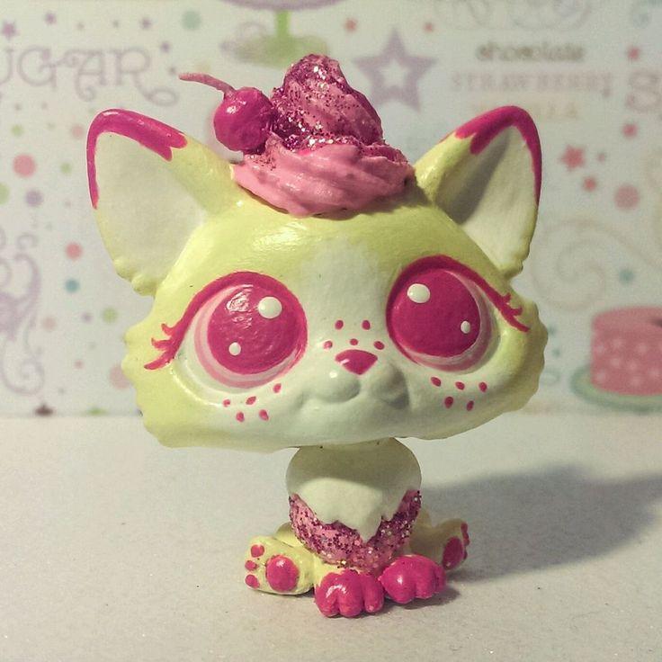 CUSTOM HAND PAINTED Littlest pet shop LPS CHIFFON pink cupcake corgi dog OOAK