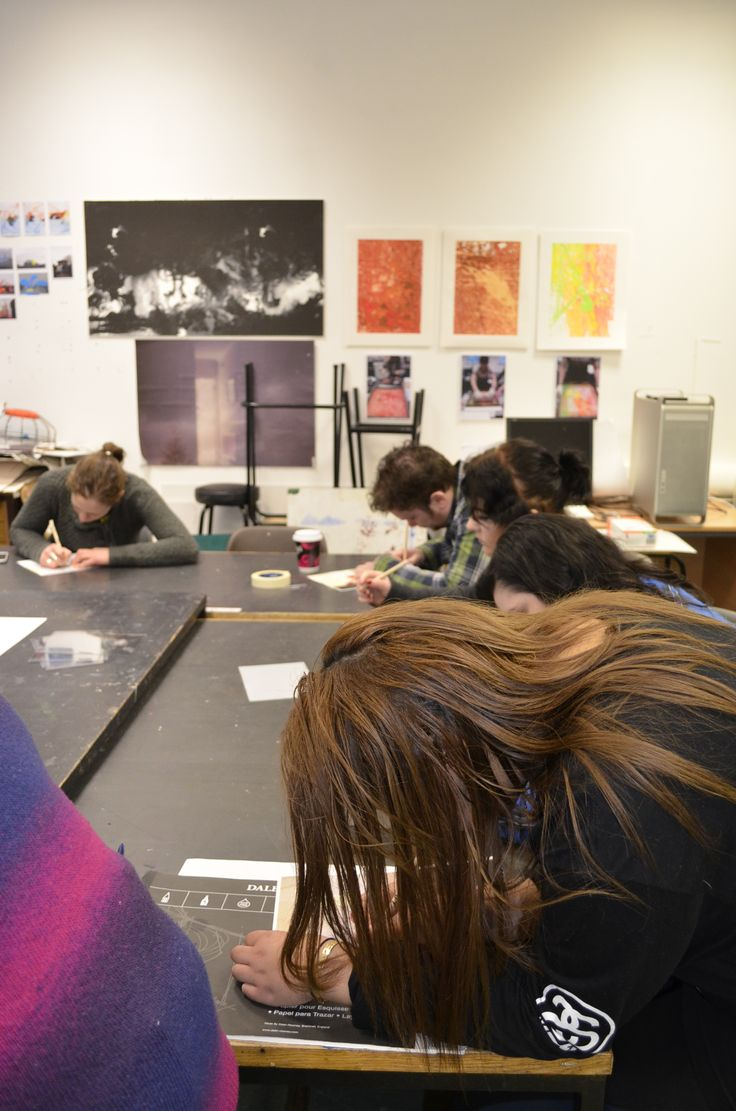 The guys working hard on their drypoint