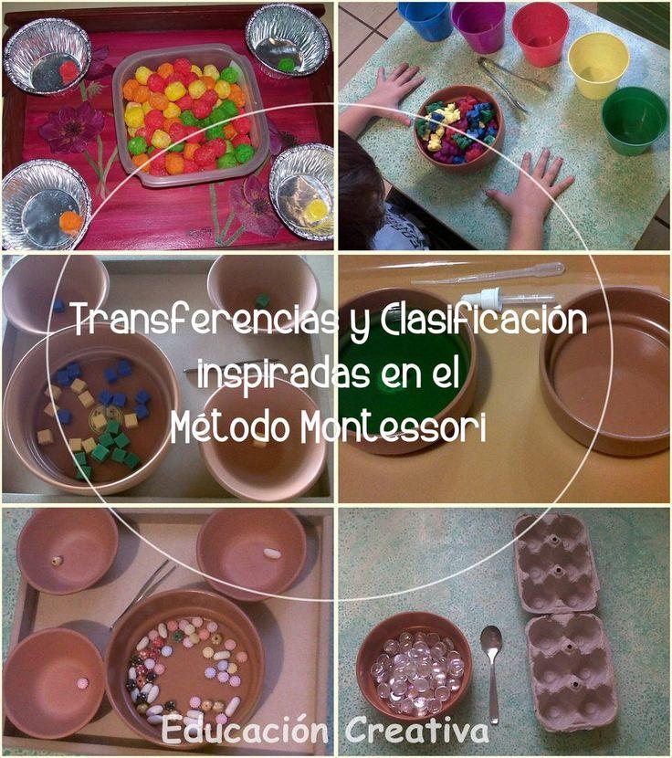 Transferencias y Clasificación inspiradas en el Método Montessori | Educación Creativa