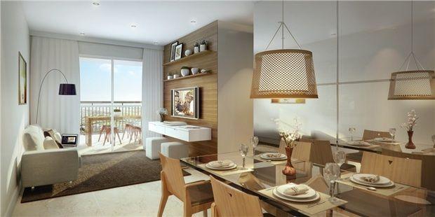 Sala estar e jantar. Painel madeira TV, luminaria mesa jantar