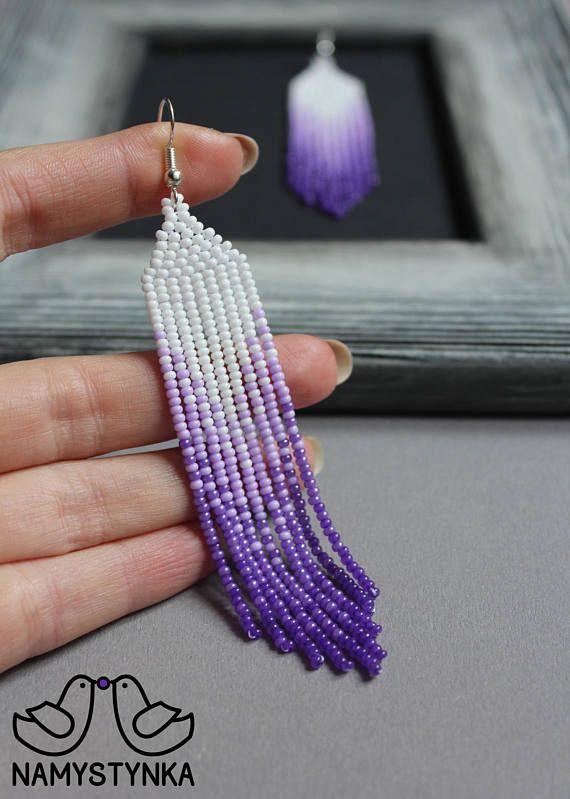 Violet pantone beaded earrings Purple earrings Ultra Violet