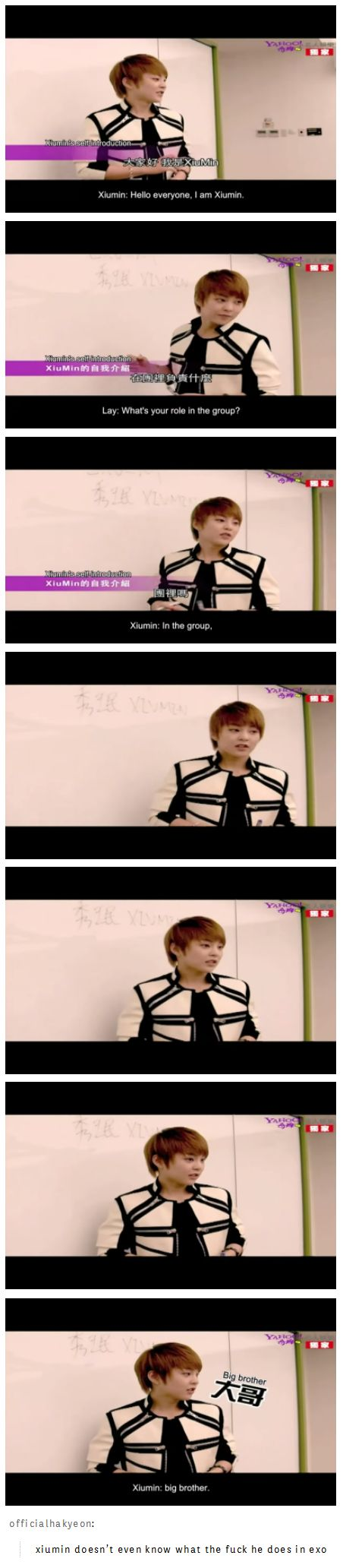 Xiumin's role in EXO... There was that time on Showtime when they put him as part of the rap line... and I think they've said in an interview before that he was in the dance line...