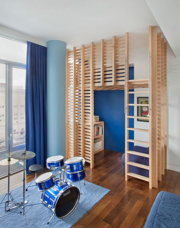 Drum set kids contemporary with blue curtains family apartment wood playloft