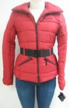 Baby Phat Contrast Belted Down Coat, Jacket, Red, Small, 1331bp