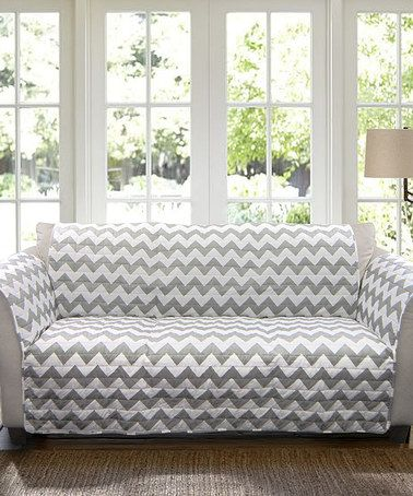 Another great find on #zulily! Gray & White Chevron Sofa Protector #zulilyfinds