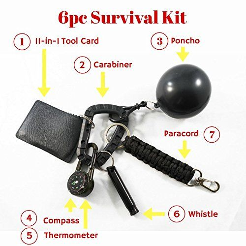 Compact Outdoor Emergency Survival Tool Kit for Camping and Exploriers, 7 Tools, includes Paracord, Carabiner, 11-function Tool Card, Waterproof Poncho, Emergency Hiking Whistle, Compass Thermometer
