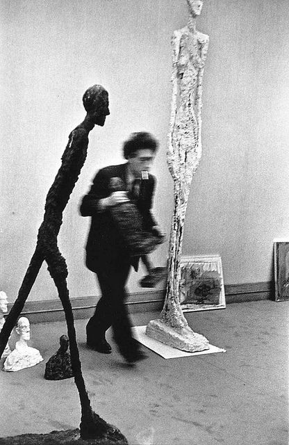 Giacometti, 1961, by Henri Cartier Bresson. There is a Giacometti at the Hop that I LOVE.