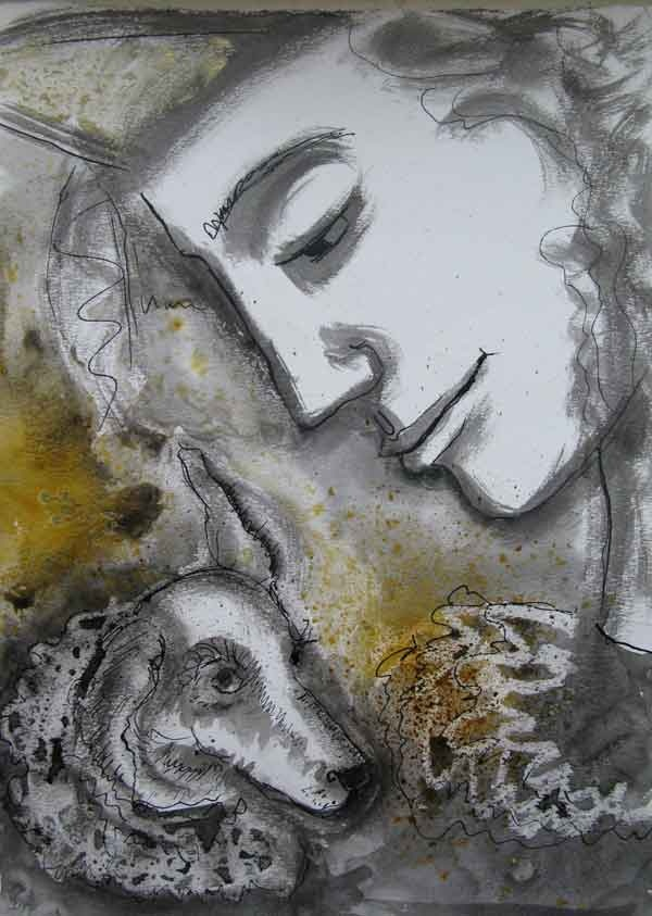 Jester and dog inspired by Florence  www.francesthomasart.co.uk