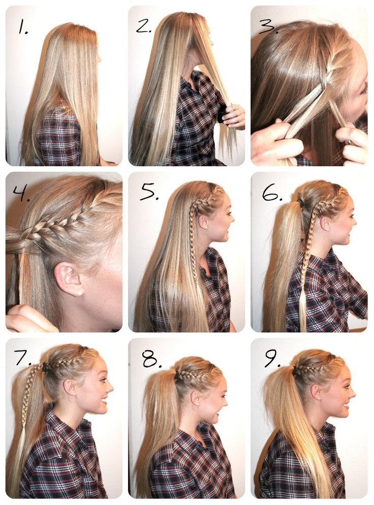 High Pony with Braid-This is an easy way to dress up a simple pony. Great for a day when you have no time to wash your hair!