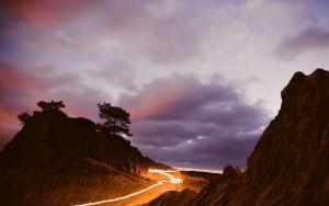 montañas fondo de pantalla de vista previa, luz, noche