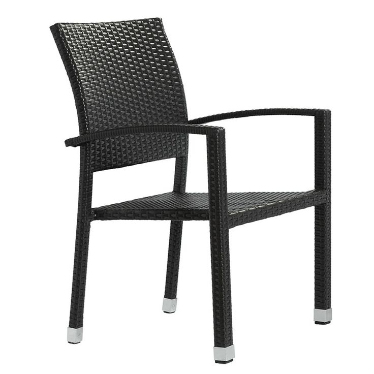 Add some stylish comfort, ambiance and taste to your meals with the Beveren Outdoor Dining Chair. This contemporary outdoor dining chair has a sturdy aluminum frame covered with an espresso rattan weave. Available in three colors. $199.00