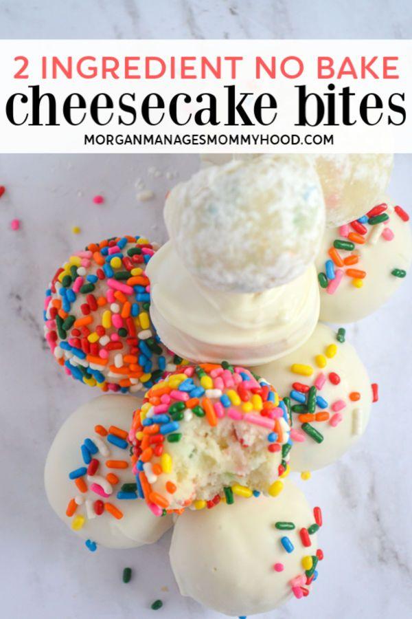 2 Ingredient Cake Batter Cheesecake Bites Recipe Cheesecake Bites 2 Ingredient Cakes Cake Batter Cheesecake