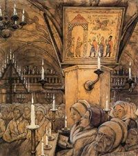 Interieur van een Zweedse kerk by