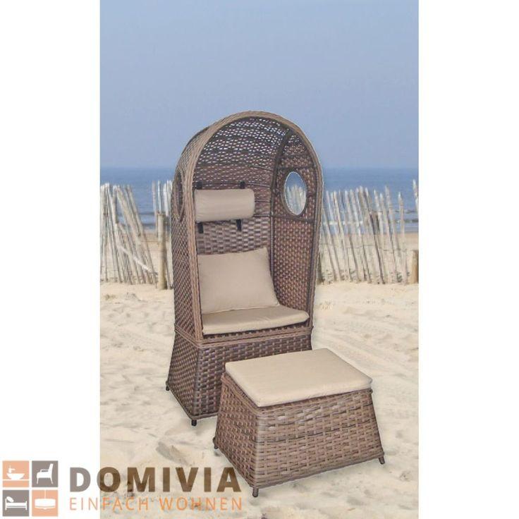 New Strandkorb LINDOS Sitzer mit Kissen Strandliege Garten