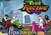 Juego de Toon Racing   JUEGOS GRATIS: Los pequeño Looney tunes tienen un carrera de motos, donde primero tendrás que seleccionar tu favorito y luego empezar la carrera, trata de ganar y captura todas las verduras que puedas, ten cuidado en no golpearlos
