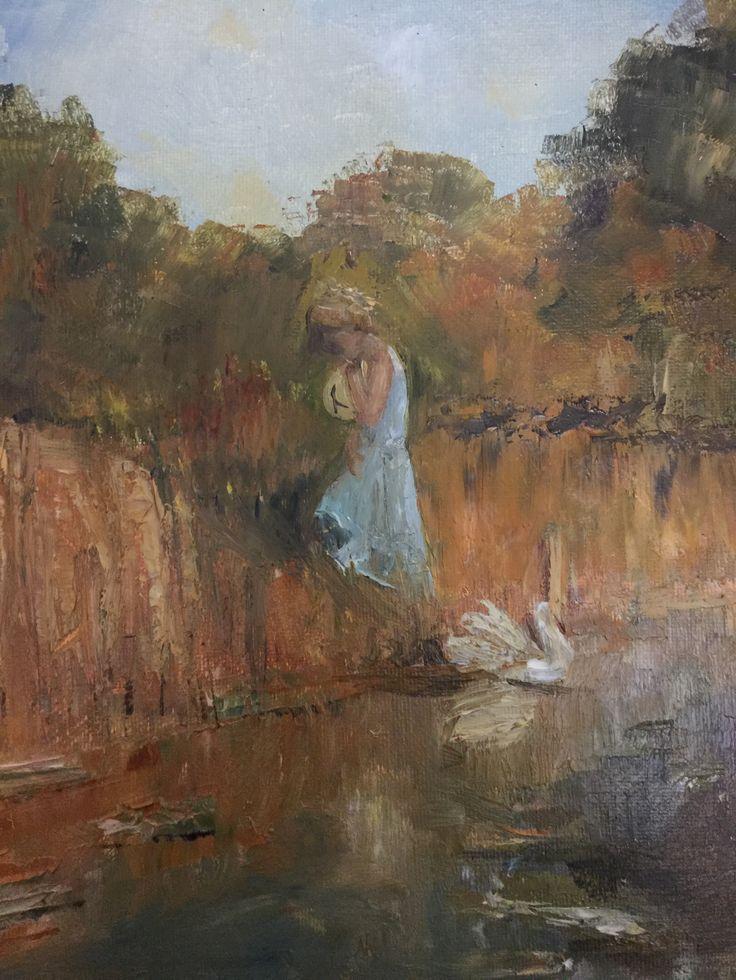 Matilda - small girl on the edge of a creek Australian original oil on canvas - Rick Brun