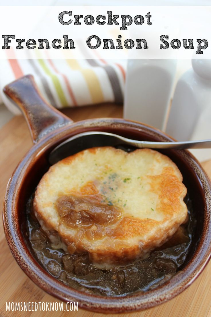 This delicious recipe for french onion soup in crock pot is just so easy to make and takes just a few minutes to get ready.