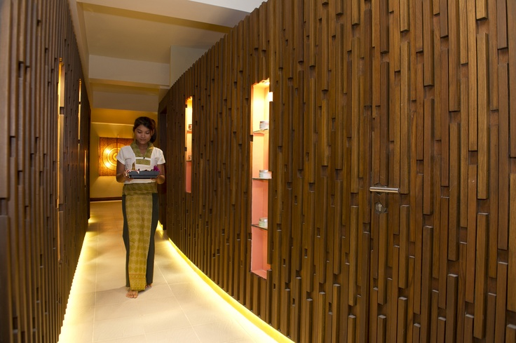 Thaya Day Spa truly is gorgeous.  This is our 'lightwalk' hallway that runs through the center of the spa.   #spa #myanmar #bestspa