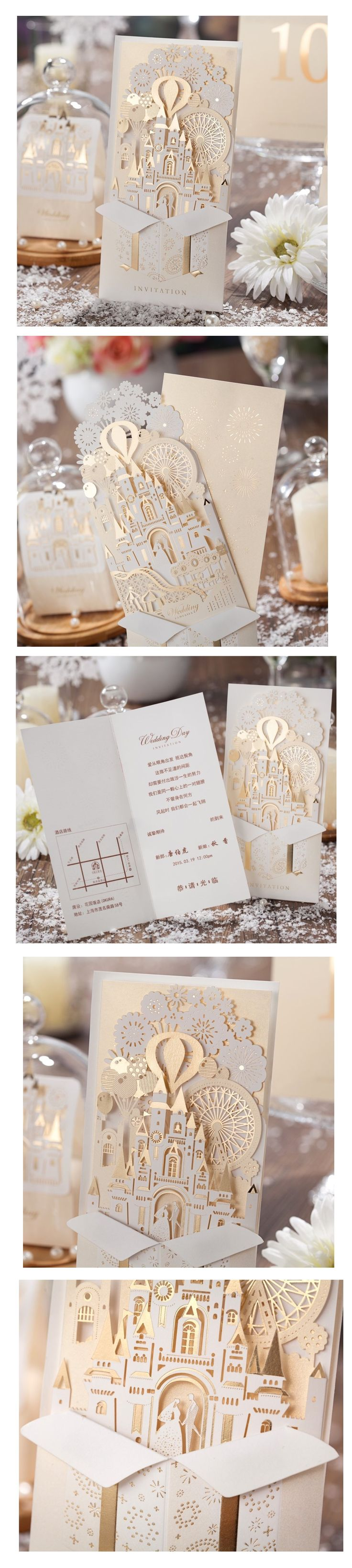 3D Laser Cut Gold Wedding Invitations 50