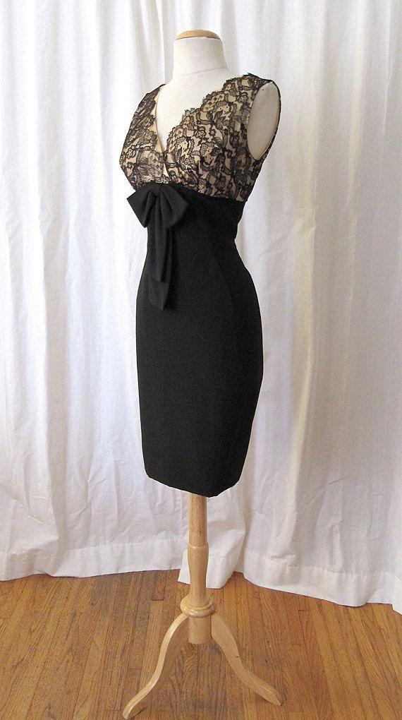 1950's Black Cocktail Dress w/ Lace Shelf Bust
