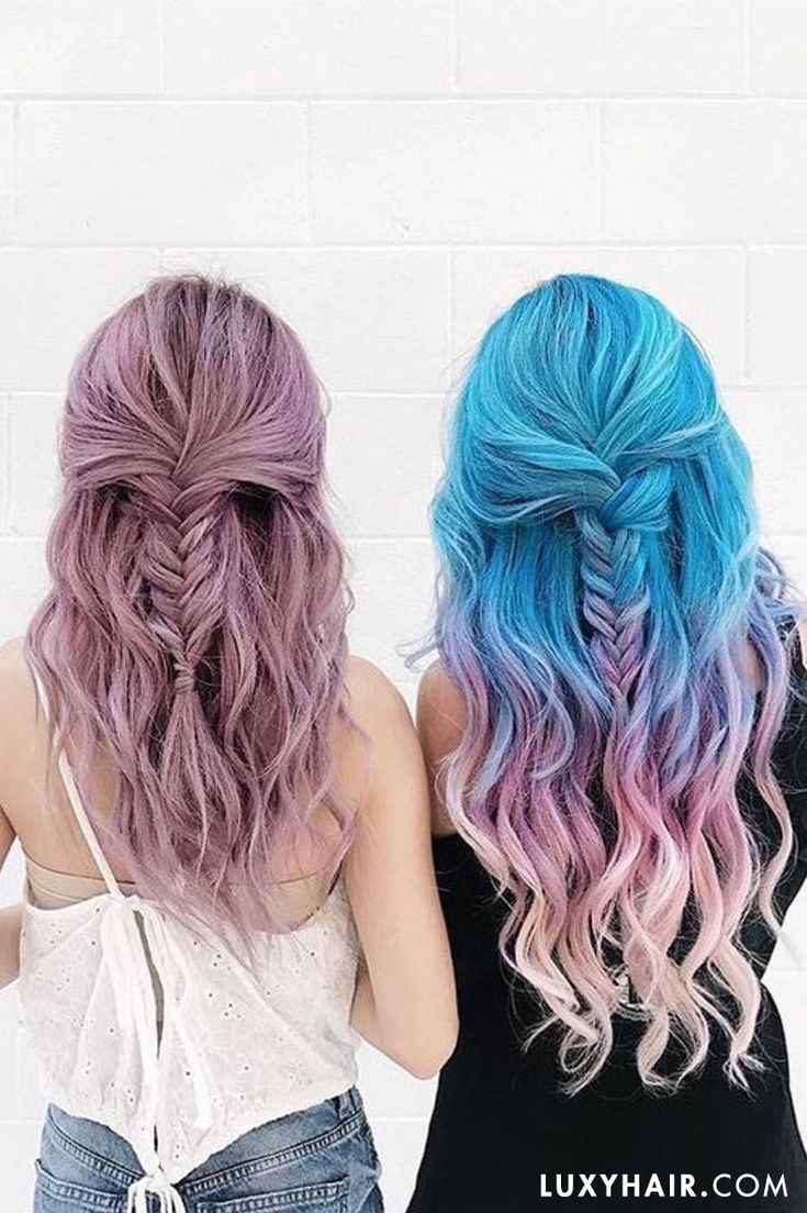 Check out these beautiful half up fishtail hairstyles on these two! @estherryigot her Ash Blonde Luxies professionally dyed and they are #unicornhairgoals  - to get a similar look, shop Ash Blonde with our link