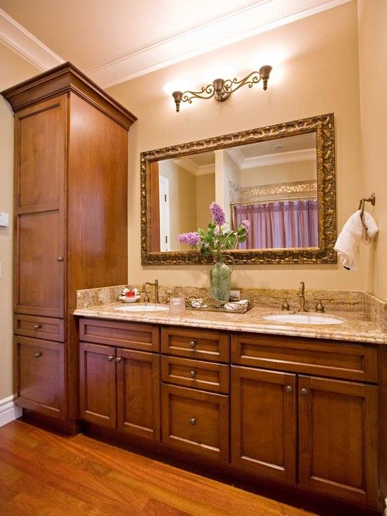 """Traditional Master Bath """"shelf Under Mirror"""" With Wall Sconces Design, Pictures, Remodel, Decor and Ideas - page 149"""